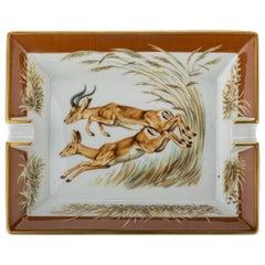 Hermes Porcelain Brown Antelopes Ashtray