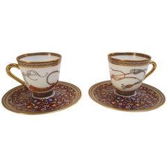 "Hermès Porcelain ""Cheval d'Orient"" Coffee Cups and Saucer for Two, France"
