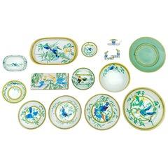 """Hermès, Porcelain Dinnerware """"TOUCANS"""" Service 50 pieces"""