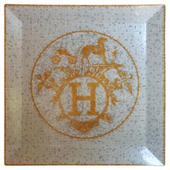 "Hermès Porcelain ""Mosaique au 24 Gold"" Square Plate N°5, France, Modern, 2020"
