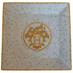 """Hermès Porcelain """"Mosaique au 24 Or"""" Square Plate N°3, France, New, 2021"""