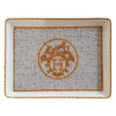"Hermès Porcelain ""Mosaique au 24 Or"" Sushi Plate, France, Modern, 2020"