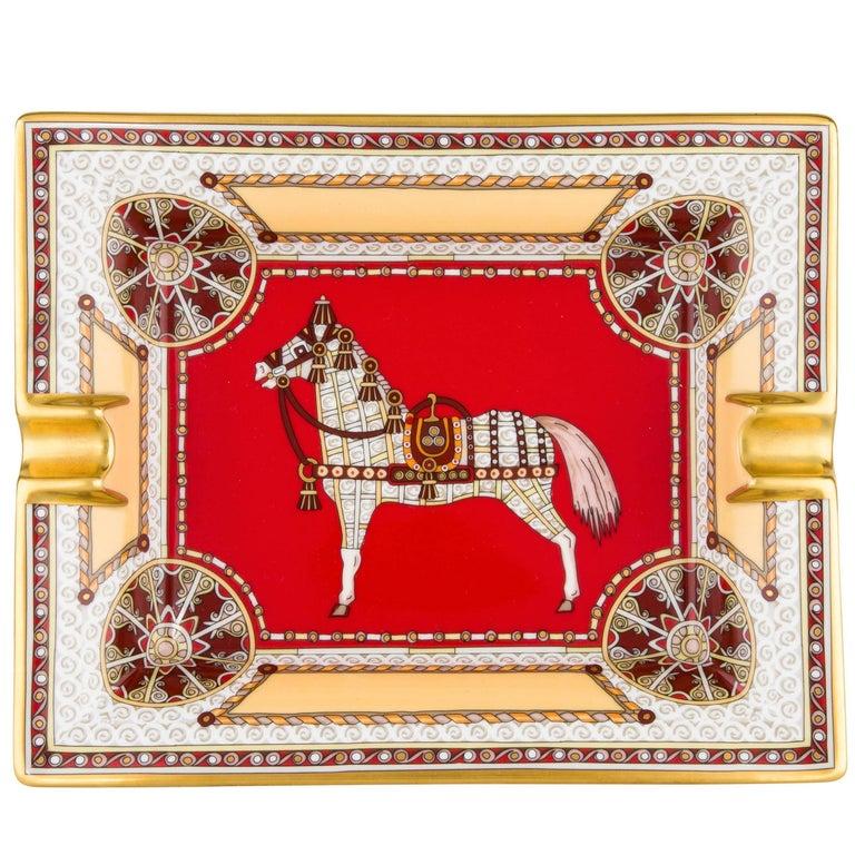 Hermes Porcelain Red Gold Gilt Table Dish Desk Table Decorative Tray Ashtray