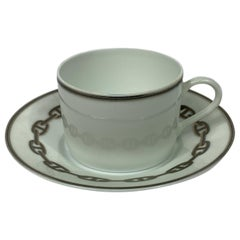HERMES Porcelain Tea and Dessert Setting Chaine D'Ancre in Grey Set of 6