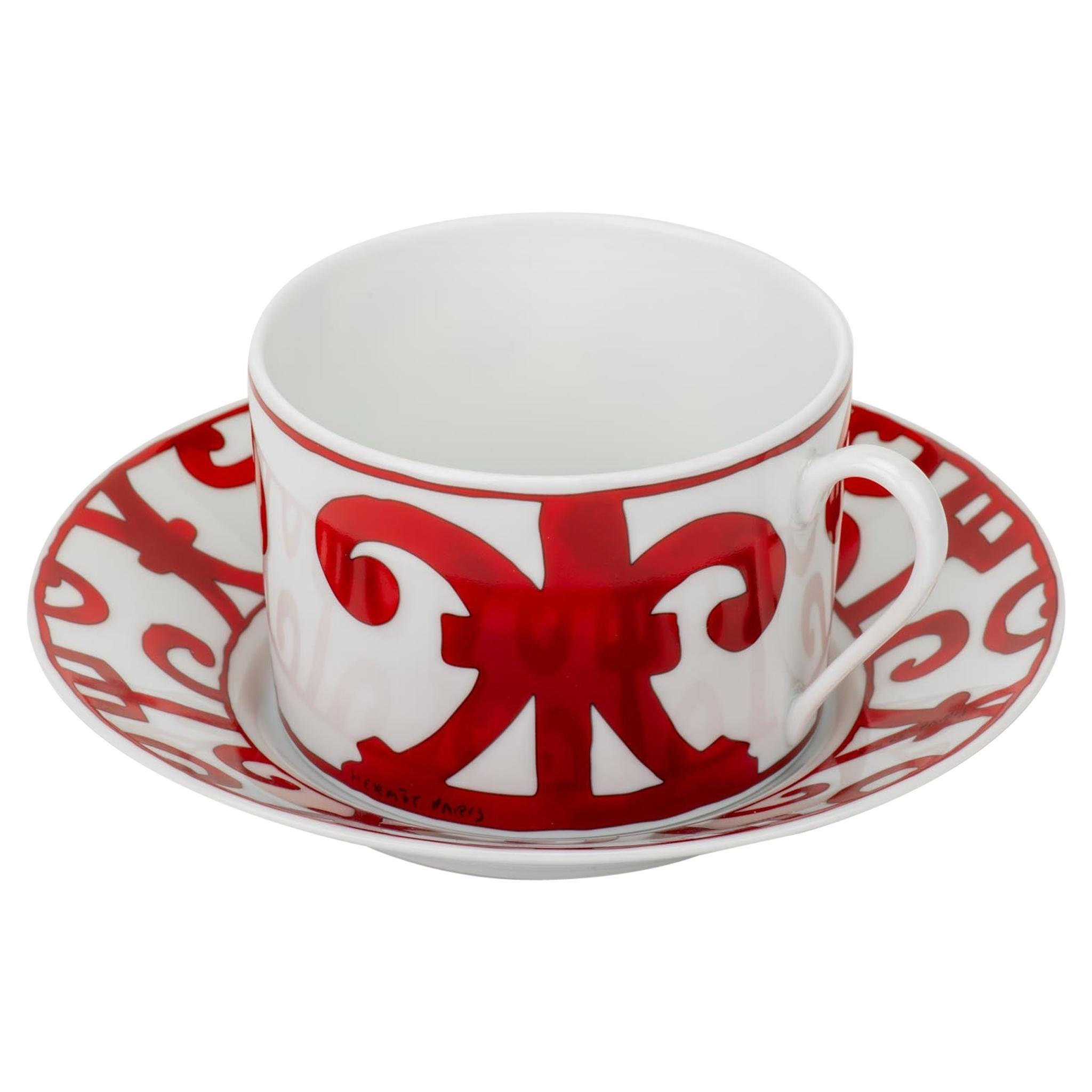 Hermès Porcelain Teacup & Saucer In Box