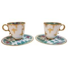 "Hermès Porcelain ""Voyage En Ikat"" Coffee Cups Set for Two, France"