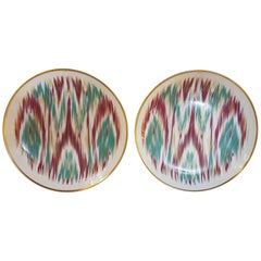 "Hermès Porcelain ""Voyage En Ikat"" Emerald Dessert Plate for Two, France"