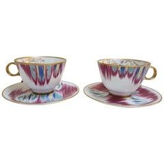 """Hermès Porcelain """"Voyage En Ikat""""  Tea Cups Set for Two, France"""