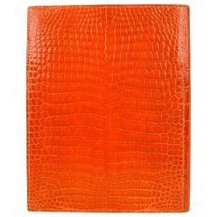 Hermes Porosus Crocodile Globetrotter Agenda Orange Feu