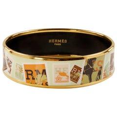 Hermès Postage Stamps Enamel Bracelet