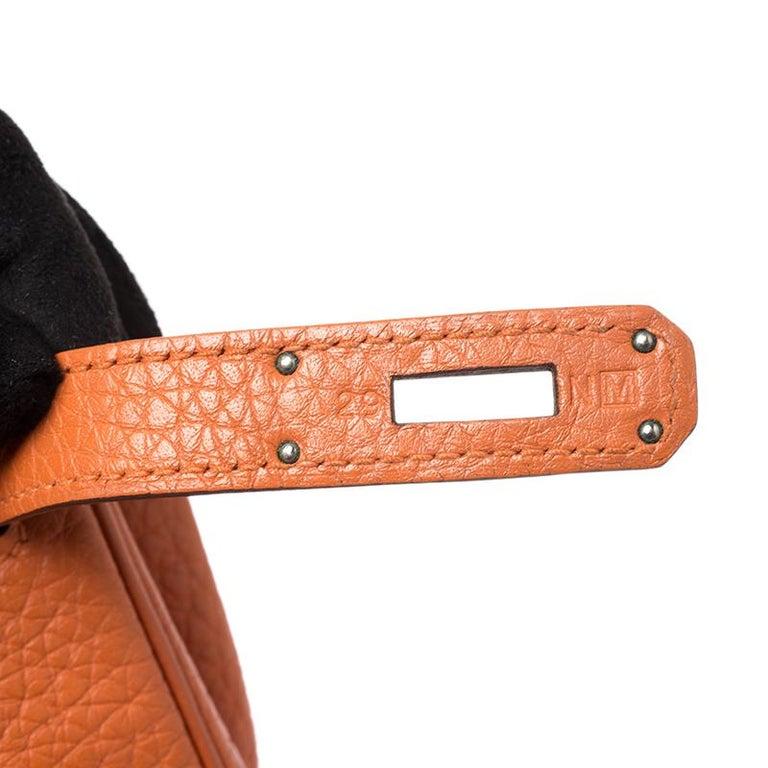 Hermes Potiron Clemence Leather Palladium Hardware Kelly Retourne 28 Bag For Sale 6