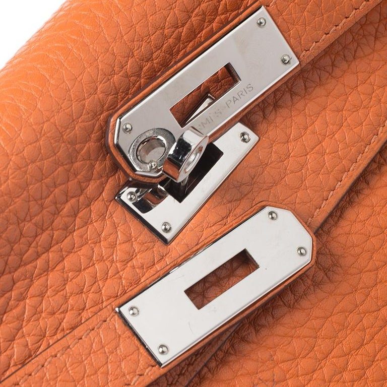 Hermes Potiron Clemence Leather Palladium Hardware Kelly Retourne 28 Bag For Sale 7