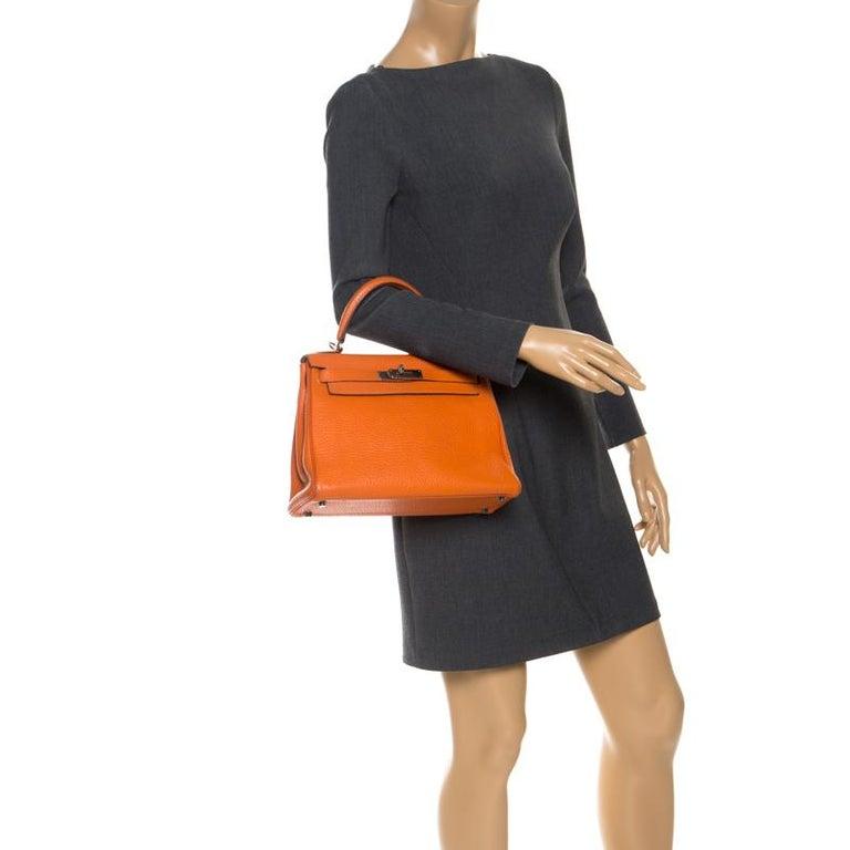 Orange Hermes Potiron Clemence Leather Palladium Hardware Kelly Retourne 28 Bag For Sale