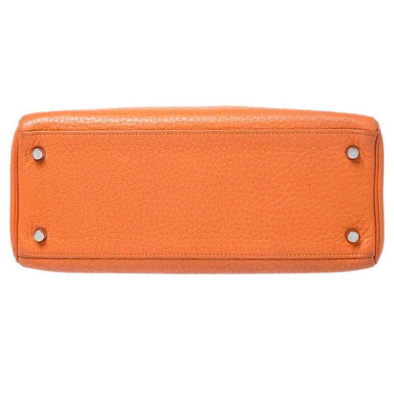 Women's Hermes Potiron Clemence Leather Palladium Hardware Kelly Retourne 28 Bag For Sale