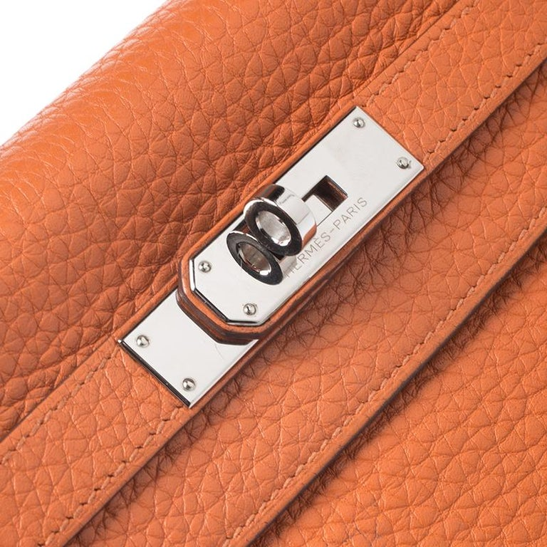 Hermes Potiron Clemence Leather Palladium Hardware Kelly Retourne 28 Bag For Sale 1