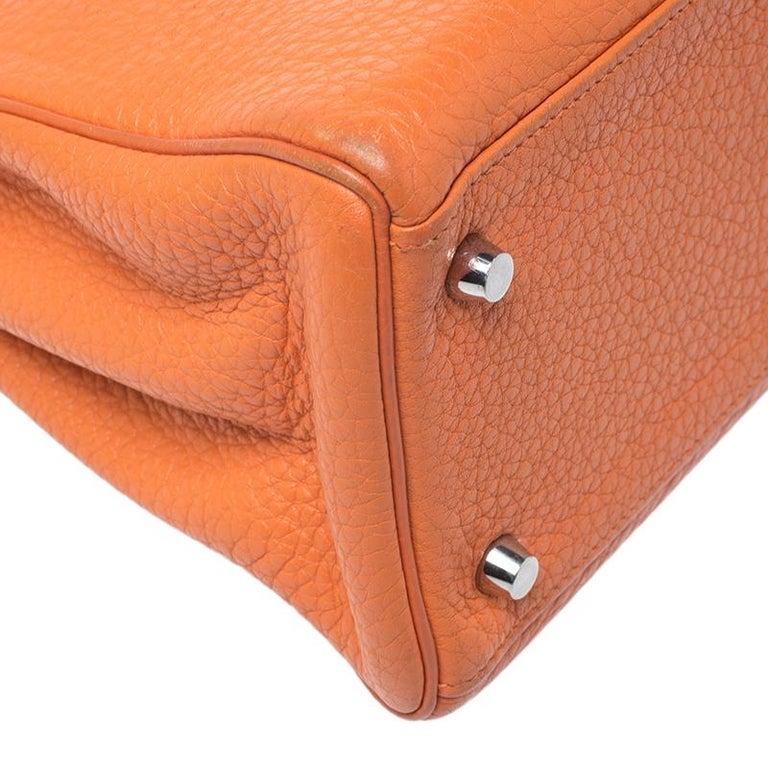 Hermes Potiron Clemence Leather Palladium Hardware Kelly Retourne 28 Bag For Sale 2