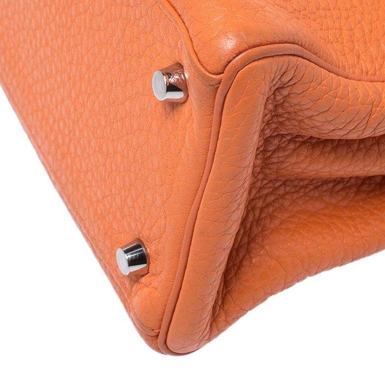 Hermes Potiron Clemence Leather Palladium Hardware Kelly Retourne 28 Bag For Sale 3