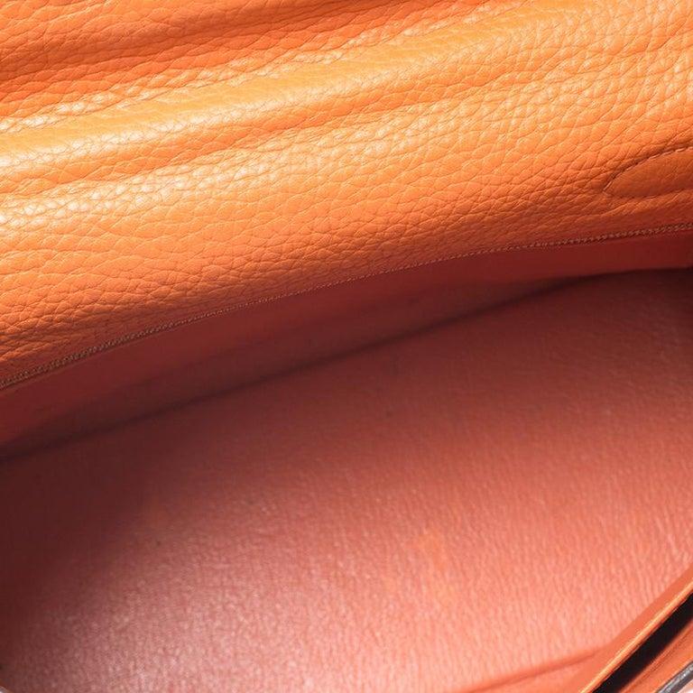 Hermes Potiron Clemence Leather Palladium Hardware Kelly Retourne 28 Bag For Sale 4