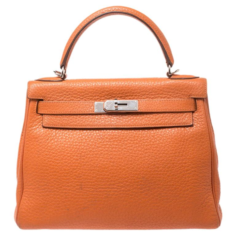 Hermes Potiron Clemence Leather Palladium Hardware Kelly Retourne 28 Bag For Sale