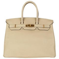 HERMES Poussiere beige & Gold leather BIRKIN 35 Tote Bag