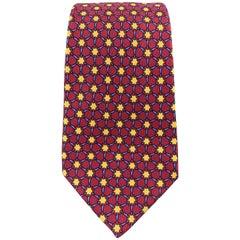 HERMES Print Burgundy Blue & Gold Geometric Interlock Print Silk Tie