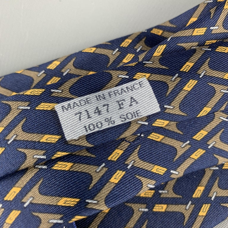 Men's HERMES Print Navy & Brown Abstract Print Silk Tie 7147 FA For Sale