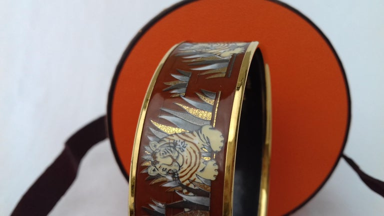 Hermès Printed Enamel Bracelet Tigers in the Herbs Joachim Metz GHW Size 65 RARE For Sale 10
