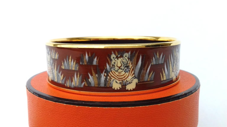 Hermès Printed Enamel Bracelet Tigers in the Herbs Joachim Metz GHW Size 65 RARE For Sale 1