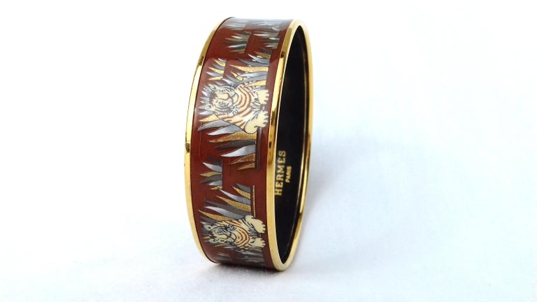 Hermès Printed Enamel Bracelet Tigers in the Herbs Joachim Metz GHW Size 65 RARE For Sale 4