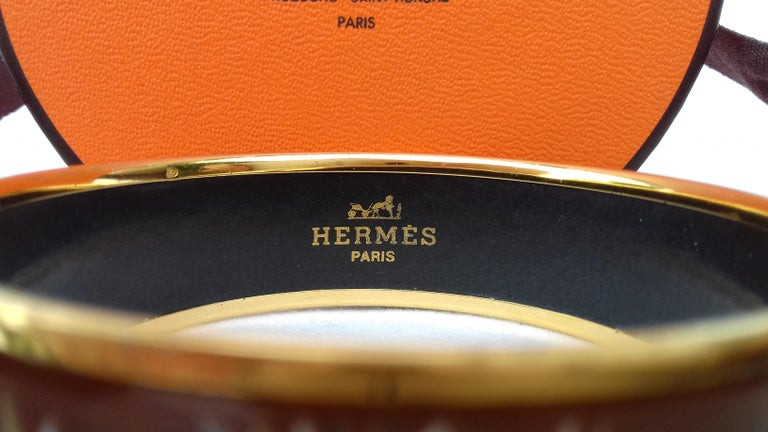 Hermès Printed Enamel Bracelet Tigers in the Herbs Joachim Metz GHW Size 65 RARE For Sale 5