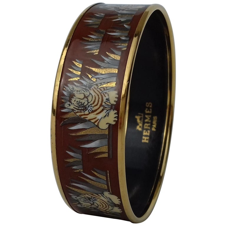 Hermès Printed Enamel Bracelet Tigers in the Herbs Joachim Metz GHW Size 65 RARE For Sale