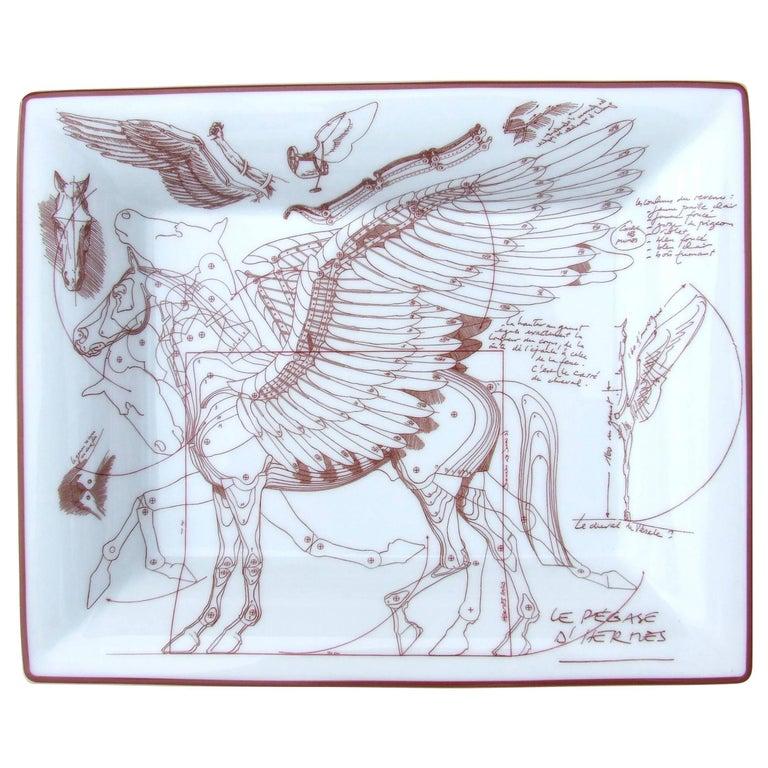 Hermes Printed Porcelain Change Tray Vide-poches Pegase Cheval Aile Horse NIB