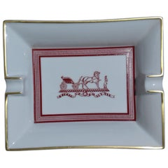 Hermès Printed Porcelain Cigar Ashtray Change Tray Carriage Porcelain