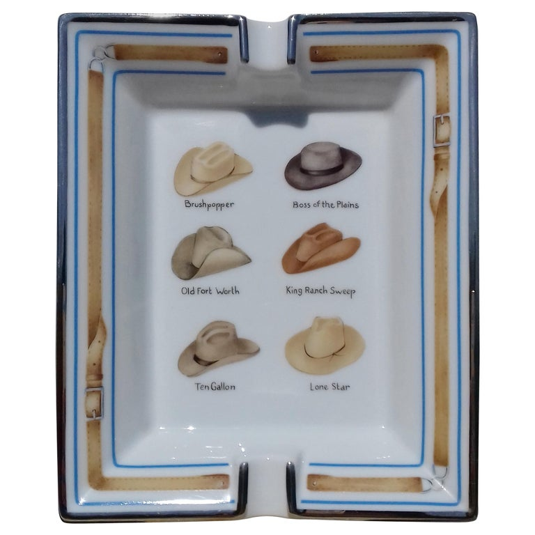 Hermès Printed Porcelain Cigar Ashtray Change Tray Cowboy Hats Rodeo Texas RARE For Sale