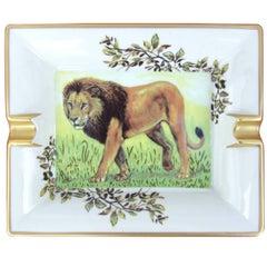 Hermes Printed Porcelain Cigar Ashtray Change Tray Lion Pattern  20 cm