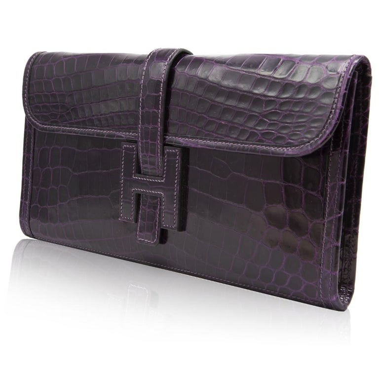 Black Hermès Prune Niloticus Crocodile Jige PM Clutch Bag For Sale