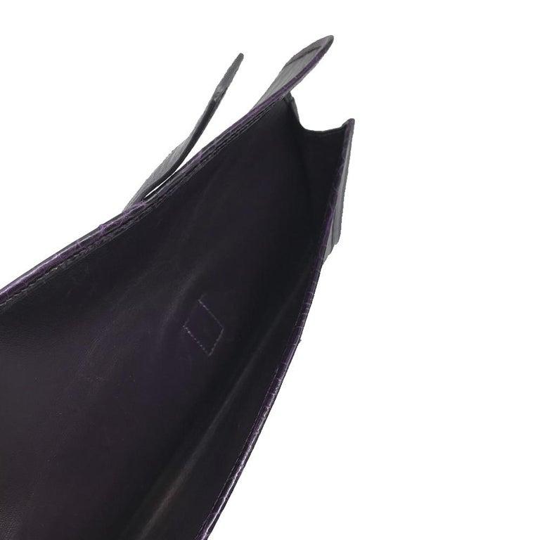 Hermès Prune Niloticus Crocodile Jige PM Clutch Bag For Sale 1