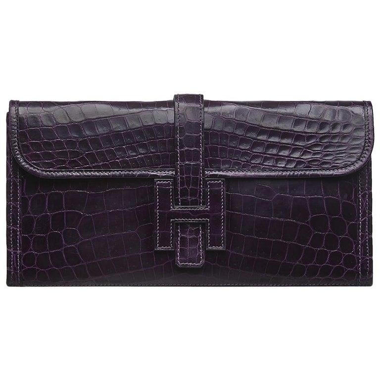 Hermès Prune Niloticus Crocodile Jige PM Clutch Bag For Sale