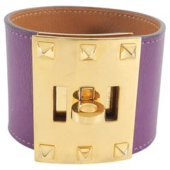 Hermes Purple Anemone Kelly Dog Extreme Cuff Bracelet