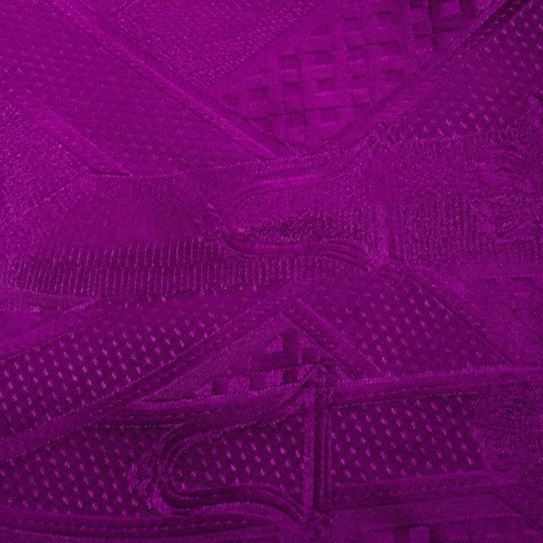 Women's Hermès Purple Cavalcadour Motif Silk Jacquard Maxi Twilly Scarf For Sale