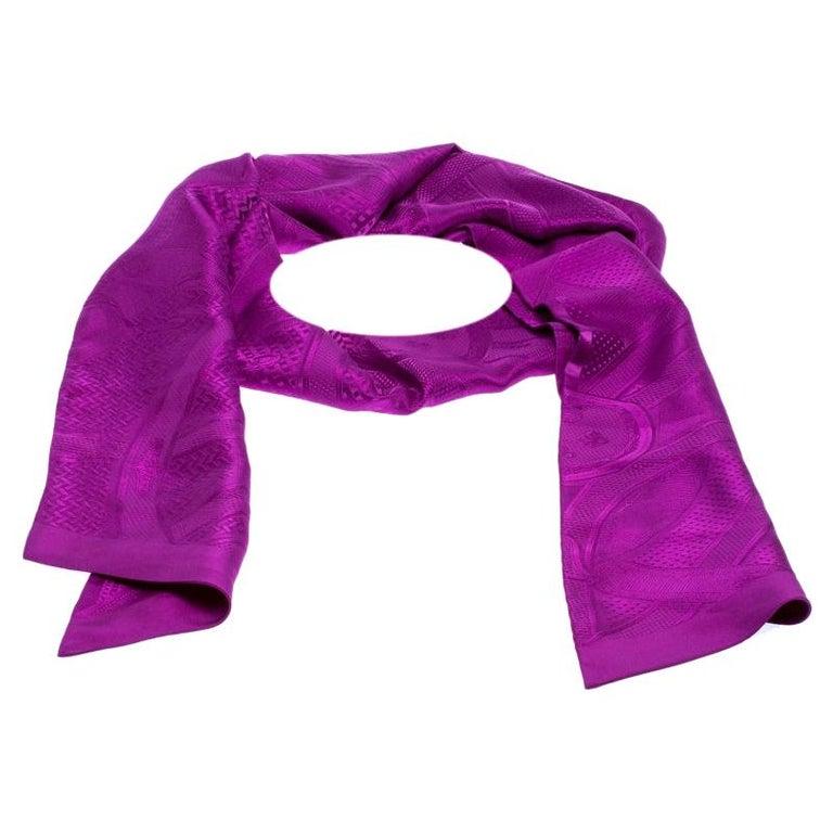 Hermès Purple Cavalcadour Motif Silk Jacquard Maxi Twilly Scarf For Sale