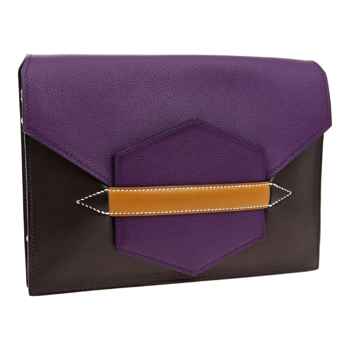 Hermes Purple Cognac Leather  2 in 1 Evening Clutch Shoulder Bag in Box