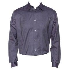 Hermes Purple Cotton Jacquard Long Sleeve Shirt L