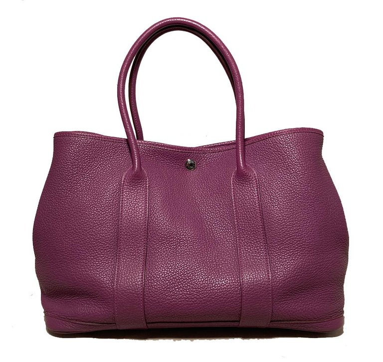Hermes Purple Garden Party PM  In Excellent Condition For Sale In Philadelphia, PA