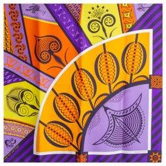 Hermes purple GEOMETRIE CRETOISE 90 silk twill Scarf