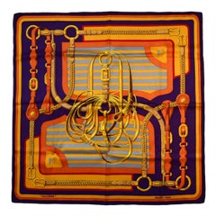 "Hermes Purple Gold ""Coaching"" 70cm 28"" Silk Scarf"