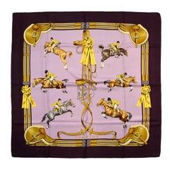 "Hermes Purple Jumping Silk 90cm/36"" Scarf"