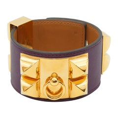 Hermes Purple Leather and Gold Hardware Collier de Chien
