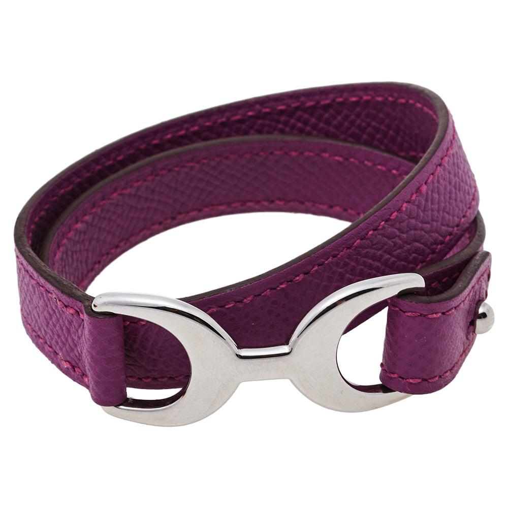 Hermès Purple Leather Baby Pavane Double Tour Bracelet M
