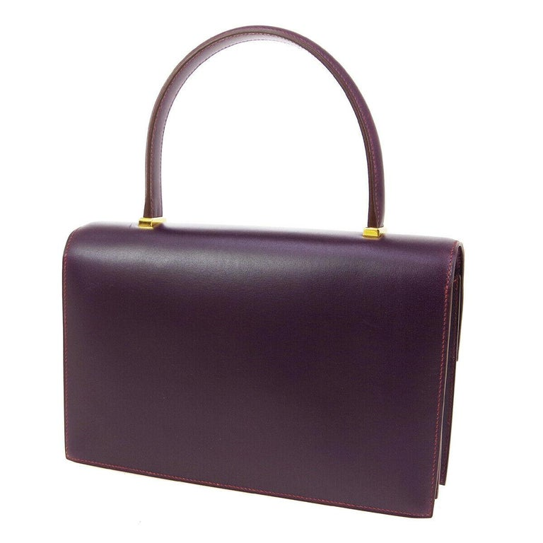 Black Hermes Purple Leather Gold Evening Kelly Style Top Handle Satchel Bag in Box  For Sale